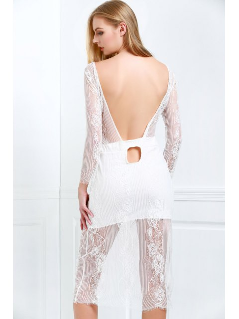 fancy White Lace Scoop Neck 3/4 Sleeve Dress - WHITE S Mobile