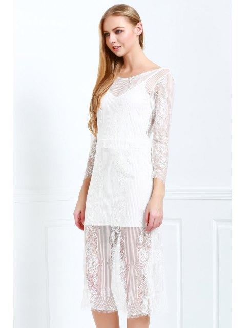 Robe manches 3/4 à manches longues en dentelle blanche - Blanc M Mobile