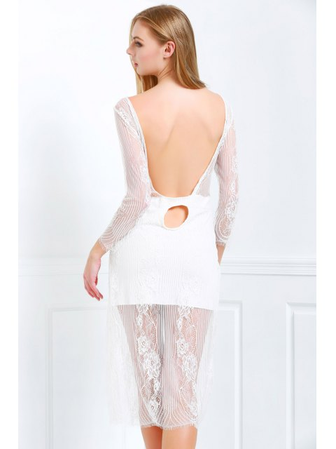 sale White Lace Scoop Neck 3/4 Sleeve Dress - WHITE L Mobile