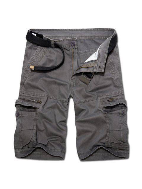 Casual Loose Fit court multi-poches avec zip solides Pantalons Couleur fret pour hommes - gris foncé 34 Mobile