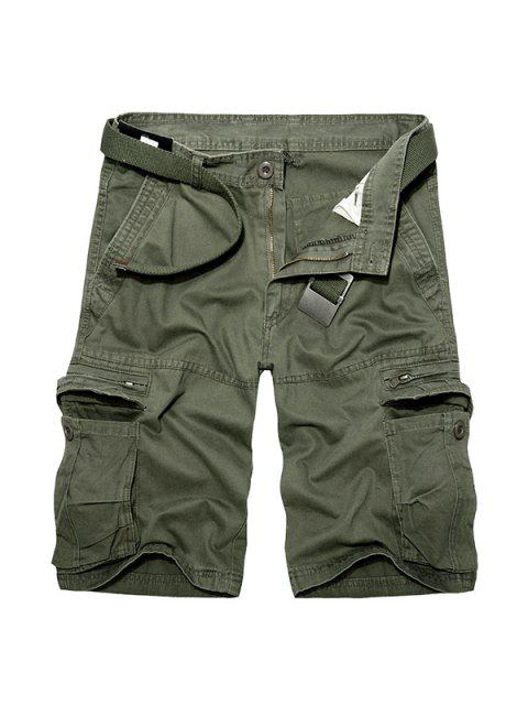 Casual Loose Fit corto Multi-bolsillos con cremallera sólidos pantalones de color de carga para los hombres - Ejercito Verde 30 Mobile