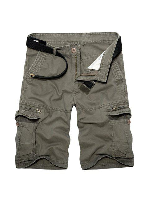 sale Casual Loose Fit Multi-Pockets Zip Fly Solid Color Cargo Shorts For Men - GREEN 36 Mobile