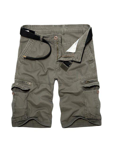 Lässige Loose Fit Short Multi-Taschen Reißverschluss Solid Color Cargo Pants für Männer - Grün 29 Mobile
