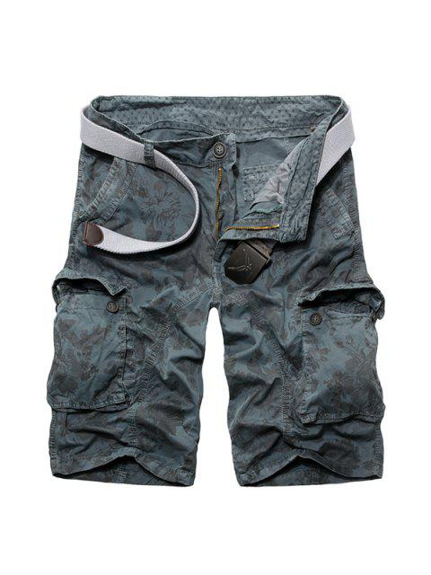 best Casual Loose Fit Zip Fly Camo Multi-Pockets Cargo Shorts For Men - LIGHT BLUE 38 Mobile