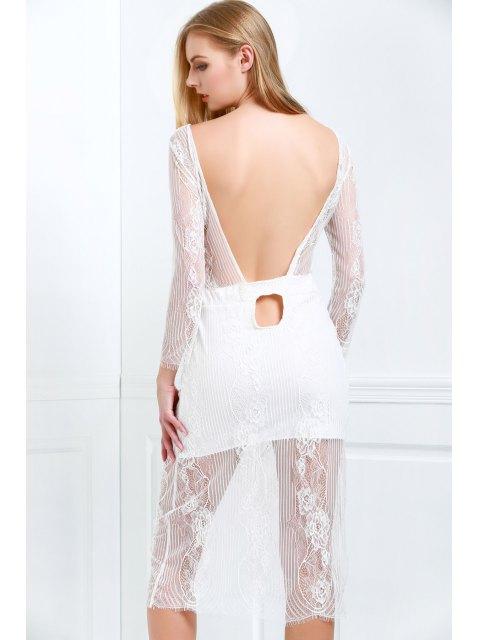 Kleid mit Schaufel Hals , 3/4 Hülse und Weißen Spitzen - Weiß M Mobile