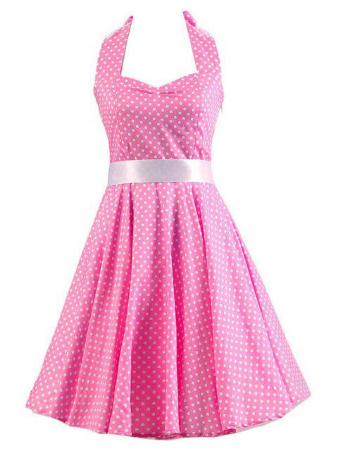 trendy Sleeveless Polka Dot Self-Tie Dress - PINK 2XL Mobile