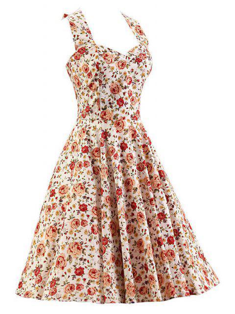 lady Smocked Rose Print Swing Dress - WHITE L Mobile