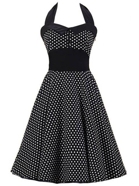shop Polka Dot Bowknot Design Pin Up Dress - BLACK S Mobile