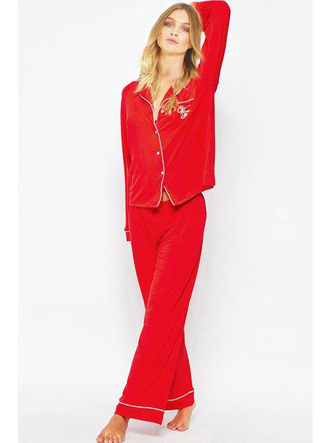 trendy Letter Print T-Shirt and Pants Sleepwear Suit - RED 2XL Mobile