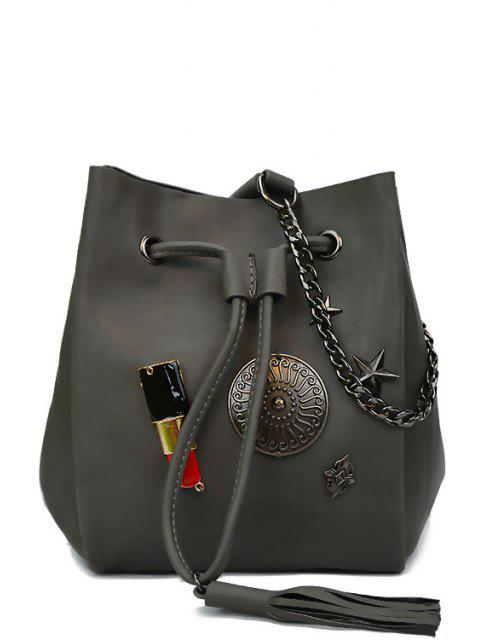 trendy Lipstick Medal Chains Crossbody Bag - GRAY  Mobile