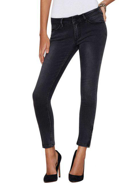women Mid-Waisted Skinny Black Ninth Jeans - BLACK L Mobile
