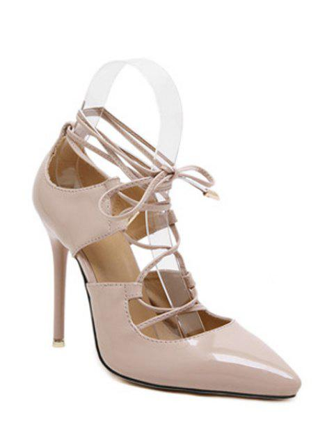 buy Solid Color Cross-Strap Stiletto Heel Pumps - NUDE 38 Mobile