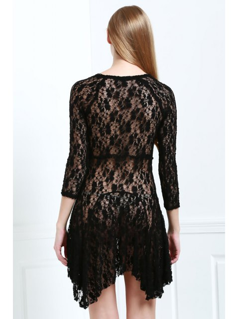 buy Lace 3/4 Sleeve Solid Color Dress - BLACK S Mobile