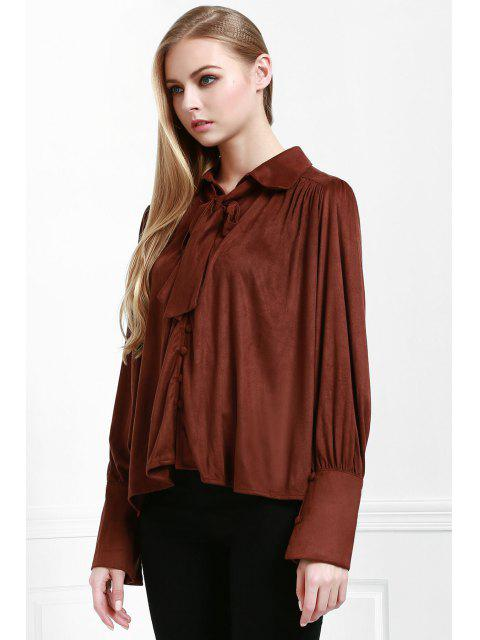 women's Modern Muse Tie Front Blouse - COFFEE M Mobile