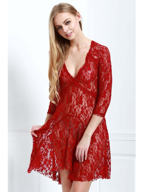 fancy Lace 3/4 Sleeve Solid Color Dress - WINE RED M Mobile