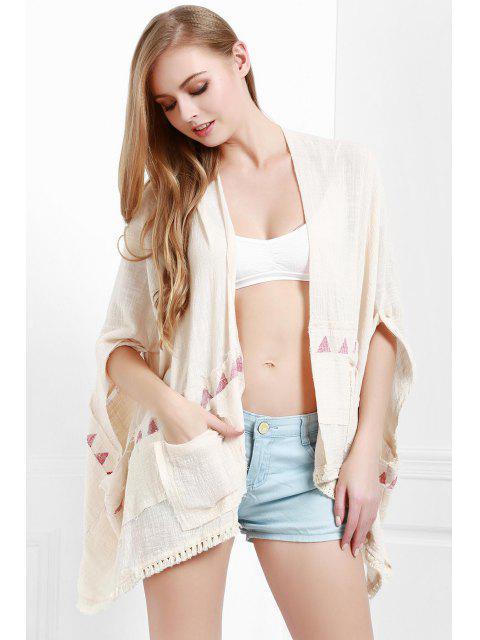 ladies Batwing Sleeve Fringed Kimono - WHITE M Mobile