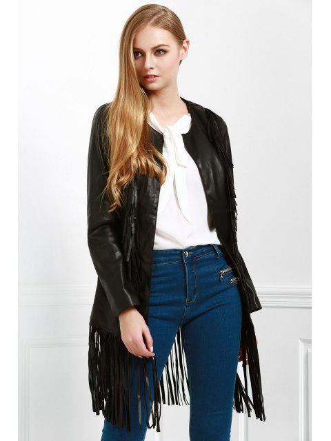 latest Long Fringe PU Leather Jacket - BLACK S Mobile