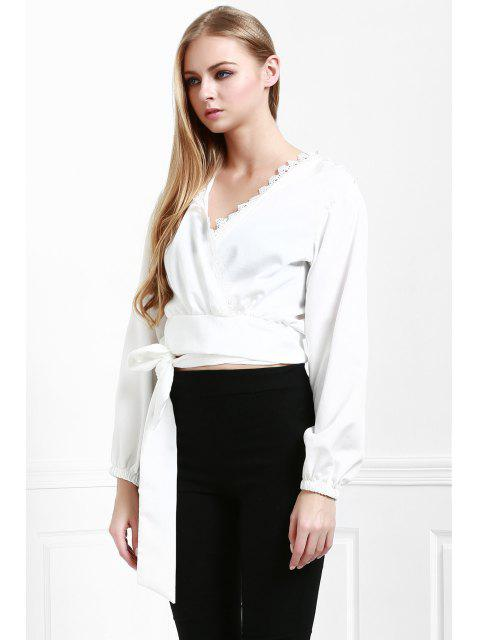 womens Long Sleeve White Self-Tie Fall Top - WHITE M Mobile