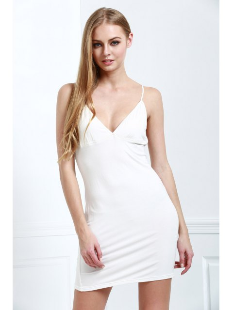 best Solid Color Bodycon Cami Dress - WHITE 2XL Mobile