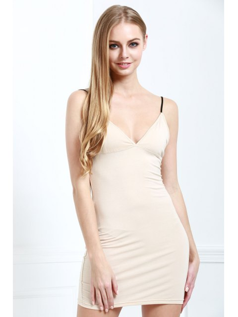shops Solid Color Bodycon Cami Dress - NUDE XL Mobile