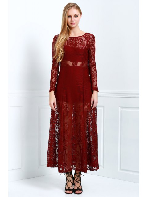 best Lace Scoop Neck Long Sleeve Maxi Dress - WINE RED S Mobile