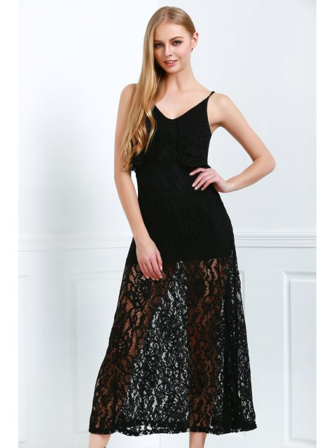 womens Spaghetti Straps Sexy Fishtail Lace V-Neck Maxi Dress - BLACK XL Mobile