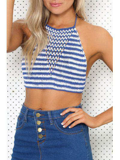Striped Halter Crocheted Tank Top - Blue And White