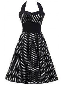 Polka Dot Bowknot Design Pin Up Dress - Black S