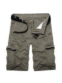 السراويل البضائع للرجال عارضة فضفاض صالح متعدد جيوب الرمز البريدي ذبابة الصلبة لون - أخضر 29