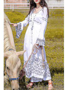 b81562a5e39 35% OFF] 2019 Ethnic Embroidery Long Sleeve Maxi Dress In WHITE | ZAFUL
