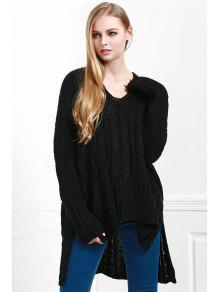 V-Neck Cable Knit Haut Bas Sweater - Noir M