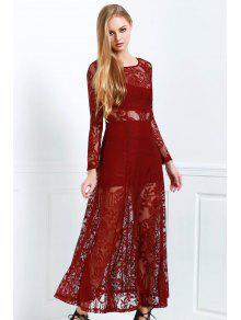 الدانتيل مغرفة الرقبة كم طويل فستان ماكسي - نبيذ أحمر S