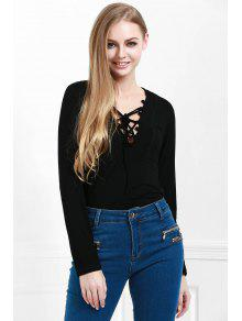 Lucky Lace Up Top - Black L