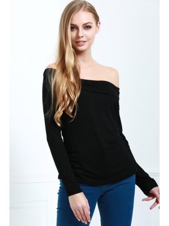 Recortar cuello de manga larga camiseta de Cassiopia - Negro L