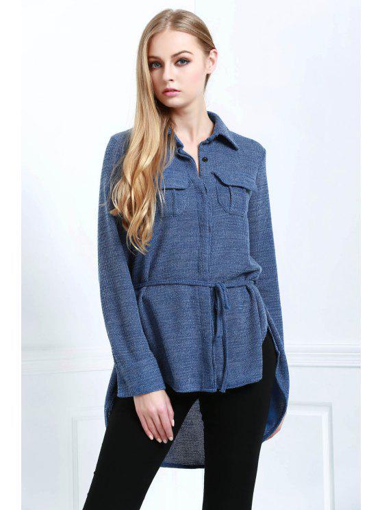 outfits Blue Shirt Neck Long Sleeve Coat - BLUE L