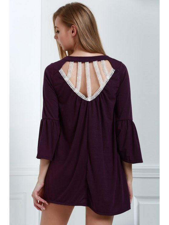 sale Hollow Out Mini Shift Dress - PURPLE XL
