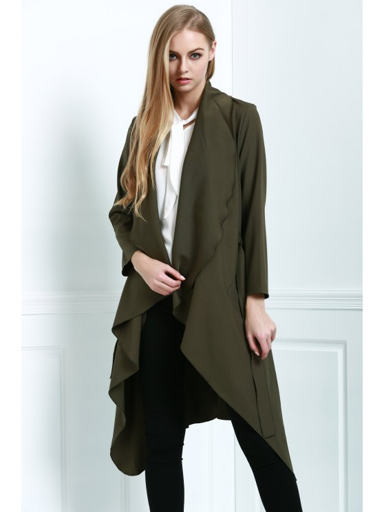 sale Army Green Long Sleevs Trench Coat - ARMY GREEN S
