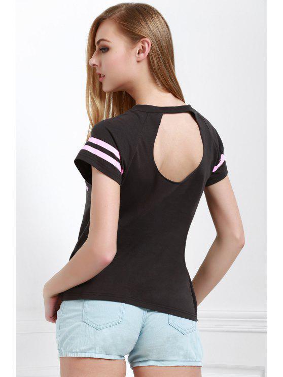 Col rond manches courtes T-shirt Lettre d'impression Objet ou sujet détouré - gris S