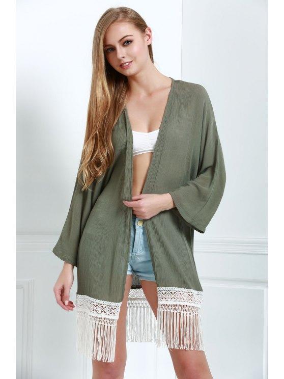 ladies Fringe Spliced Long Sleeve Blouse - GREEN S