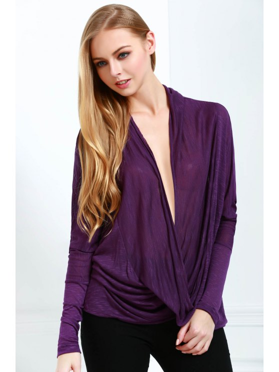 new Plunging Neck Long Sleeve Loose Knitwear - DEEP PURPLE ONE SIZE(FIT SIZE XS TO M)