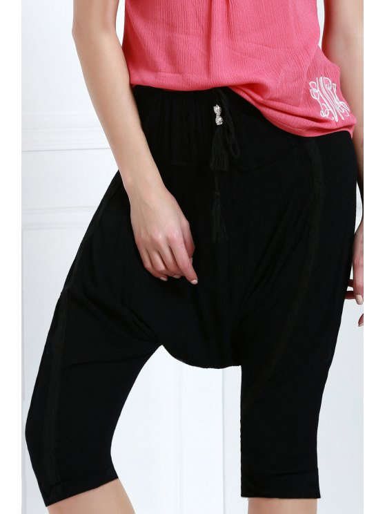 women Drawstring Capri Harem Pants - BLACK M