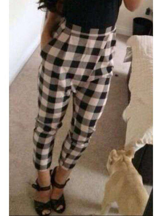 best High-Waisted Plaid Pocket Design Pants - WHITE AND BLACK M