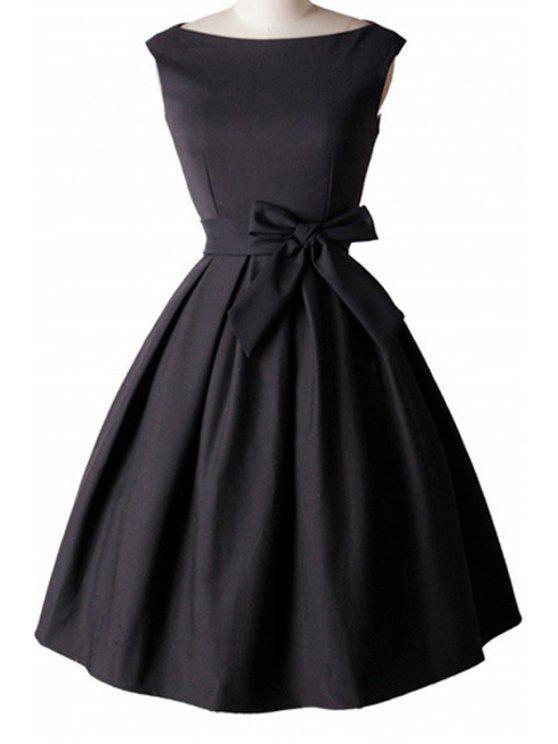 shops Bowknot Embellished Slash Neck Sleeveless Ball Gown Dress - BLACK L