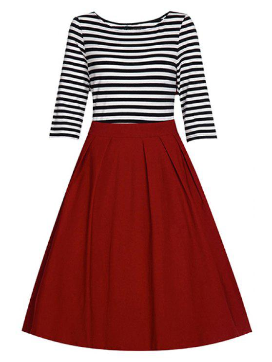 new Striped Splice Round Collar Half Sleeve Dress - RED L