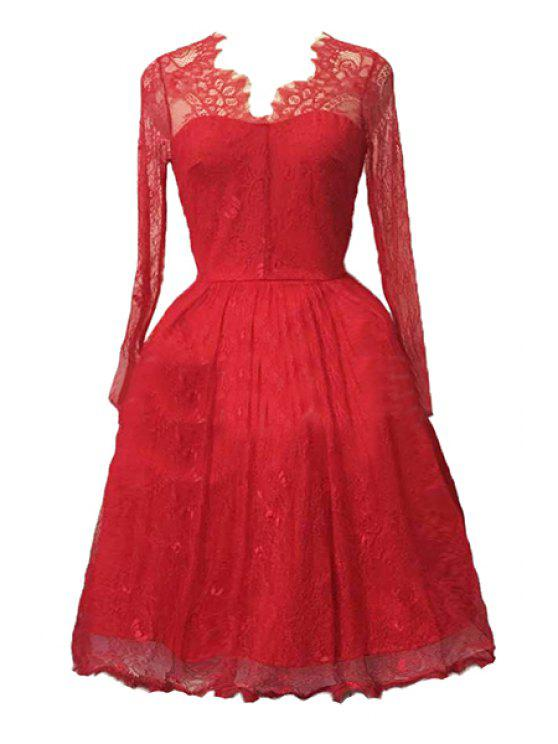 Y Lace Long Sleeve Ball Gown Birthday Dress Red Xl