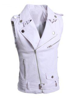 Turn-Down Collar Zipper Design Sleeveless PU-Leather Waistcoat For Men - White L
