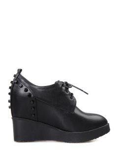 Stylish Rivet And Lace-Up Design Women's Wedge Shoes - Black 39