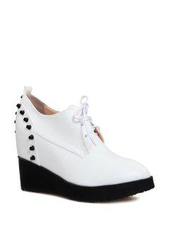 Stylish Rivet And Lace-Up Design Women's Wedge Shoes - White 36
