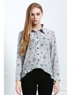 Tiny Floral Print High Low Long Sleeve Shirt - Light Gray M