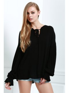 Lace-Up Solid Color Lantern Sleeves Blouse - Black M